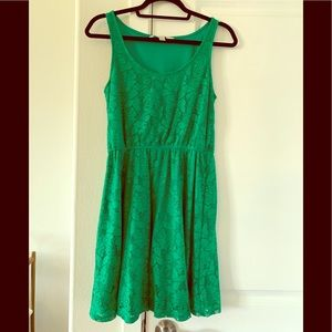 Medium LC green lace fit and flare dress